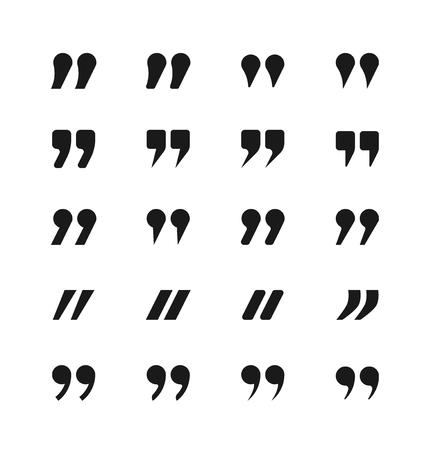 Iconos de cotización. Las comillas y signos de cotización conjunto de vectores