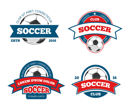collegiate: Soccer logo templates. Football logotypes or soccer logos, sport team badges identity vector illustrations