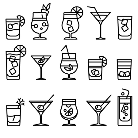 thin ice: Cocktail thin line icons. Alcohol cocktails drinks vector outline symbol or party cocktail signs