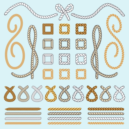 Rope brushes vector set. Seamless rope brush collection