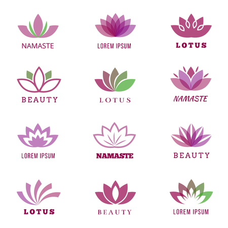 namaste: Vector spa, boutique, beauty salon, cosmetician, shop, yoga class, hotel and resort  set with lotus flowers. Lotus namaste boutique, cosmetician lotus icon, lotus yoga class illustration Illustration