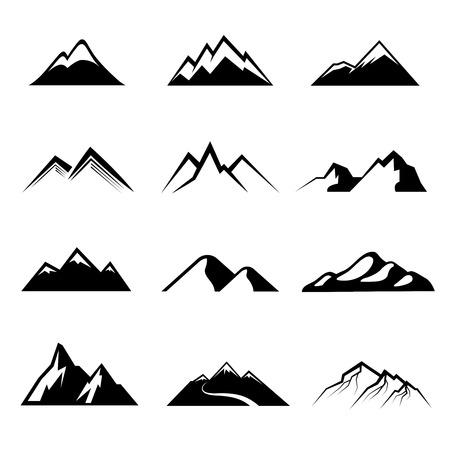 白黒山アイコン雪に覆われた山や山ピークのシンボルのイラスト素材