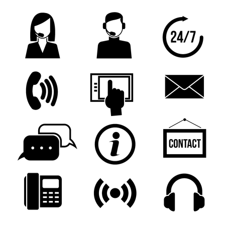 telemarketing: Support, customer service, call center and telemarketing vector icons. Customer support service, call center support, assistant support illustration