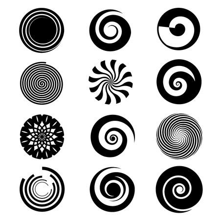 Éléments spirales vectoriels. Spirale spirale icône circulaire, tourbillon spirale cercle, torsion courbe spirale rotation illustration Vecteurs
