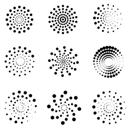 espirales de puntos Resumen vector conjunto. espiral de puntos de hidromasaje, giro espiral punto, la creatividad en espiral torbellino ilustración movimiento