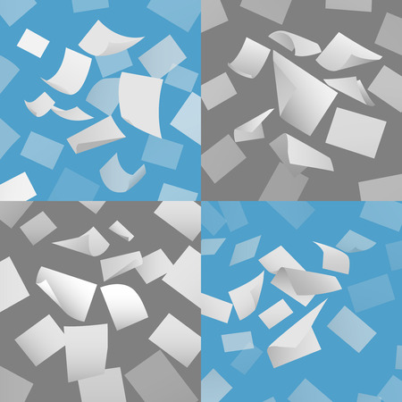 loose: Flying blank paper sheets vector set. Blank paper, sheet paper fly, page papper document illustration