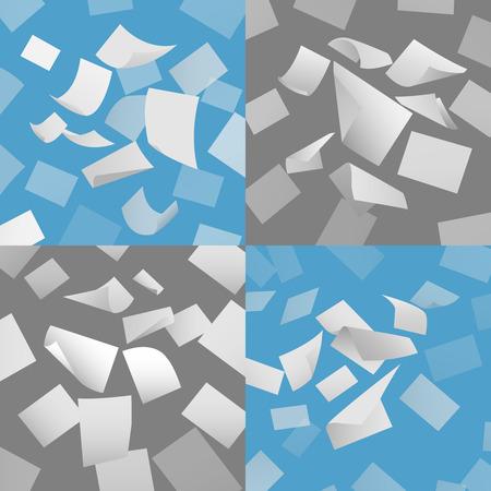 paper flying: Flying blank paper sheets vector set. Blank paper, sheet paper fly, page papper document illustration