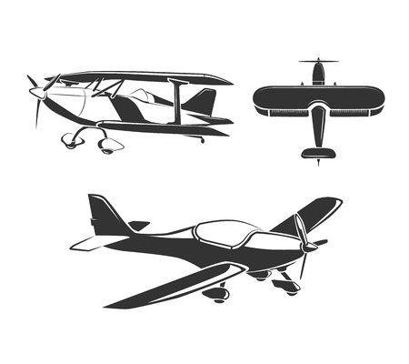 monoplane: Vector elements for airplane emblems, labels and badges. Aircraft and airplane, fly airplane, flight airplane illustration