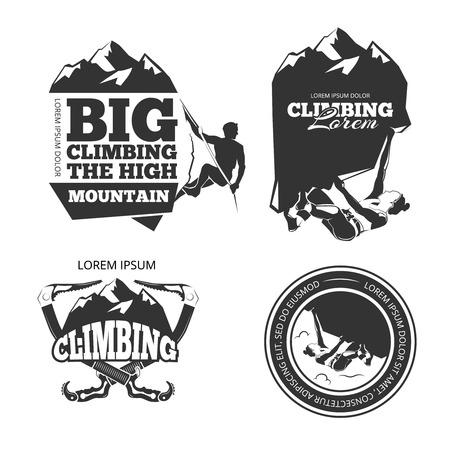 climbers: Vintage mountain climbing vector logo and labels set. Sport climbing, emblem climbing, hobby climbing illustration