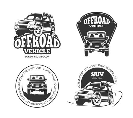 autosport: Suv pickup retro vector emblems, logos, badges and labels. Vehicle suv offroad, auto suv pickup, transport suv car label illustration