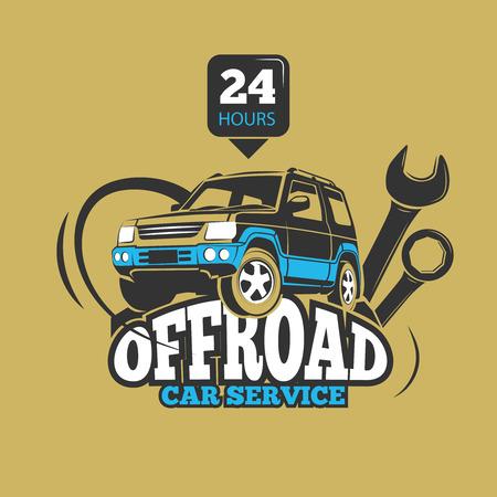 autosport: Car service and automotive repair vector concept. Service off road suv car, transport service car, badge service automobile illustration