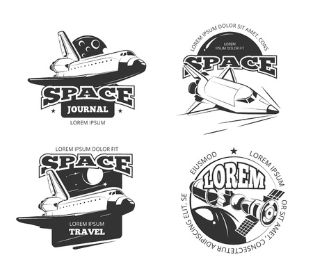 rocketship: Cosmos, space astronaut badges, emblems and logos vector set. Label travel cosmos, science cosmos travel satellite, cosmos ship, space rocketship logo illustration