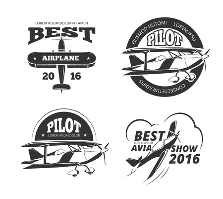 avia: Retro airplane, aircraft vector labels set. Best pilot label, aeroplane or monoplane badge, emblem airplane transport, avia show airplane logo illustration