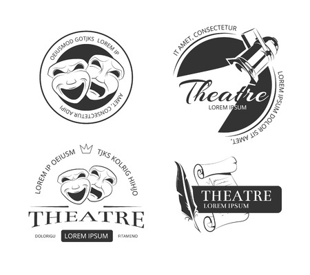 Vintage etiquetas de vectores de teatro, emblemas, insignias y logotipo. máscara clásica de teatro, teatro centro de atención, muestra el rendimiento de teatro, teatro de la ilustración emblema Logos