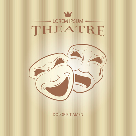 comedy: Comedy and tragedy theatrical masks. Face mask art, tragedy mask, comedy mask, vector illustration