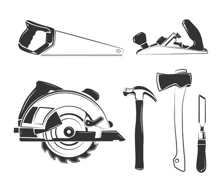 Vektorelemente für Zimmerei Etiketten, Logos, Abzeichen und Embleme. Zimmerei Ausrüstung, Werkzeug, Zimmerei, Holzbearbeitung Zimmerei Illustration