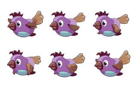 Bird animation vector frames. Animation bird, animal fly animation, cartoon animation sequence illustration Illustration