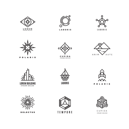 Vector minimal geometric vintage labels set. Emblem linear, insignia logo linear, geometry linear logotype illustration