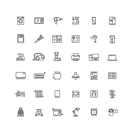 appliance: Household appliances line vector icons. Appliance equipment home, kitchen appliance, electronic appliance device illustration