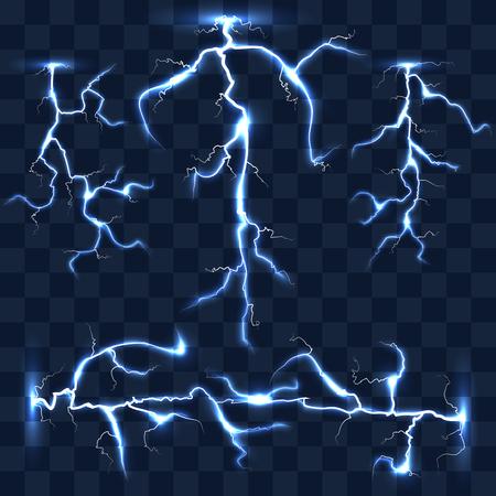 lightnings: Realistic vector lightnings set on checkered background. Bright lightning, electric lightning, effect lightning energy illustration