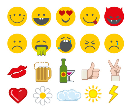 beaten: Emoticon vector icons set with thumbs up, chat, heart and other icons. Angry smiley, funny smiley, barf face smiley illustration