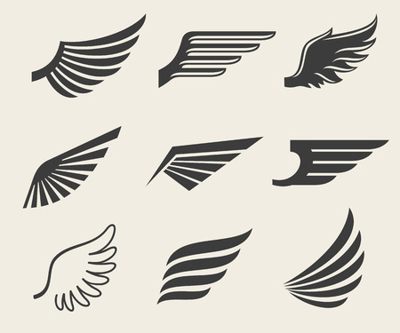 Wings vector iconen set. Wing set, pictogram vleugel, veer vleugel vogel illustratie