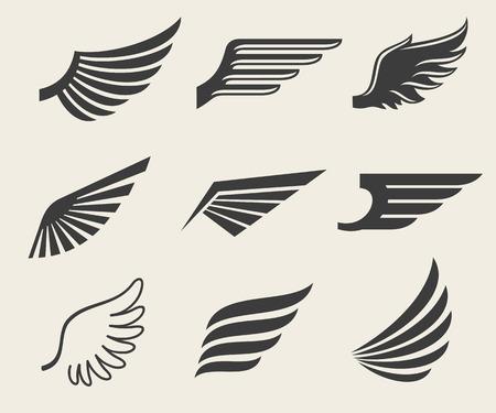 zestaw ikon wektorowych skrzydła. Zestaw Skrzydło, ikona skrzydło, pióro skrzydło ptaka ilustracji