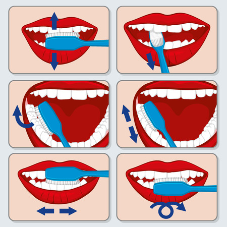 tooth icon: Correct tooth brushing vector infographics. Dental brushing  tooth and toothbrush using brushing, brushing banner illustration Illustration
