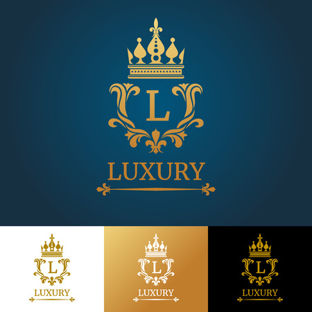 kingly: Monogram with crown. Royal design vector logo template. Royal monogram design and luxury classic monogram, template monogram letter illustration