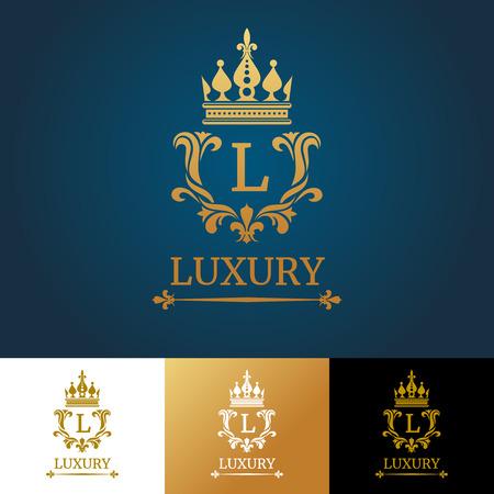 Monogramme avec couronne. Royal design vector logo modèle. conception de monogramme royal et de luxe de monogramme classique, lettre de monogramme de modèle illustration Logo