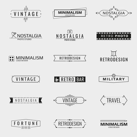 Vecteur minimal modèles de logo vintage. Logo Voyage, emblème logo bar, logo de la marque studio photo illustration