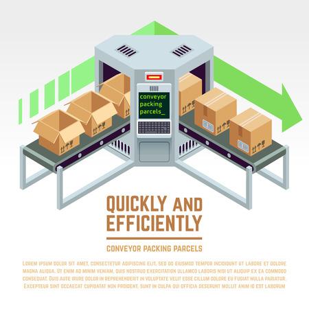 parcels: Conveyor packing parcels. Vector 3D isometric concept. Conveyor factory, conveyor distribution, industry conveyor illustration