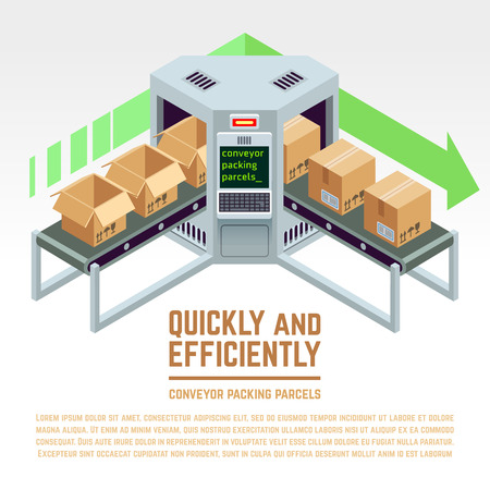 Conveyor packing parcels. Vector 3D isometric concept. Conveyor factory, conveyor distribution, industry conveyor illustration
