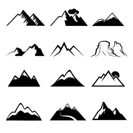 peaks: Monochrome mountain icons. Snowy mountains signs or mountains peaks symbols Illustration