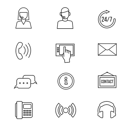 helpline: Contact or support line icons. Communicate helpline and online support, help operator and communication outline signs
