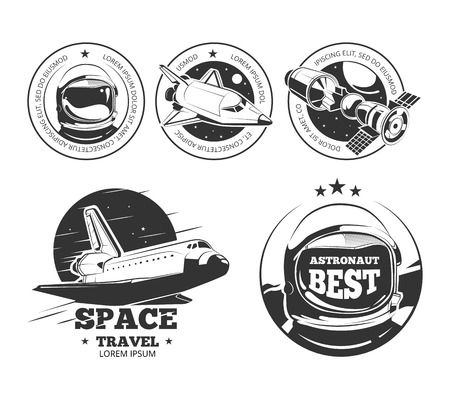 astronautics: Astronautics set.  Rocket space labels, astronaut badges and space travel emblems