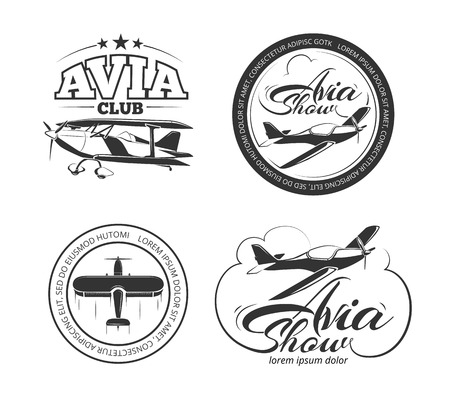 avia: Aviation and airplane  set. Avia club badges,  avia show emblems and avia travel labels