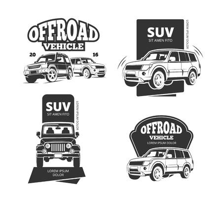 Suv car badges and offroad labels. Suv offroad car set or 4x4 transport emblems Illustration