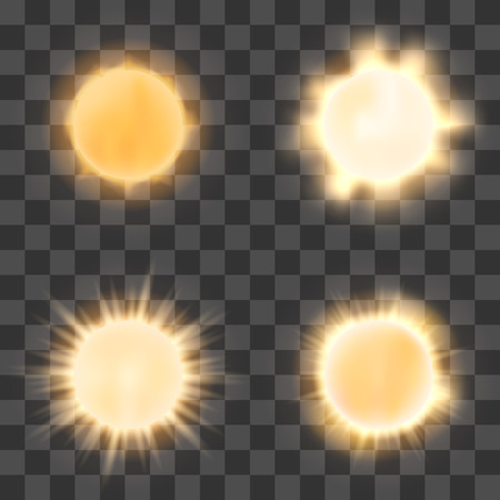 Realistic sun on transparent background. sun shine or bright sun icons on checkered background