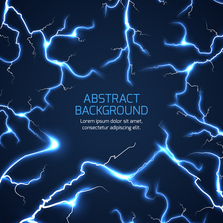 Lightning background. Bright lightning electricity pattern, electrician charge lightning illustration with text