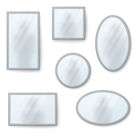 reflection mirror: realistic mirrors set with blurry reflection. Mirror frames or mirror decor interior illustration