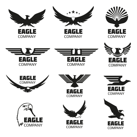 Heraldic symbols with eagle silhouettes. eagle emblems or eagle set for company or brand with eagle bird