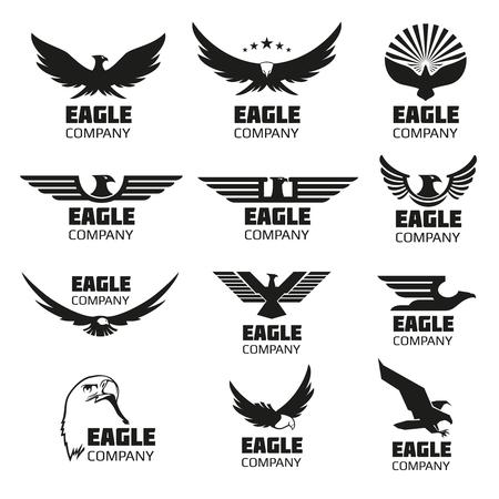 Heraldic symbols with eagle silhouettes. eagle emblems or eagle set for company or brand with eagle bird