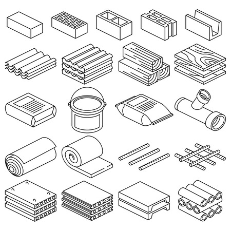 fixtures: Building and construction materials linear icons. Construction building material, cement material and brick material illustration