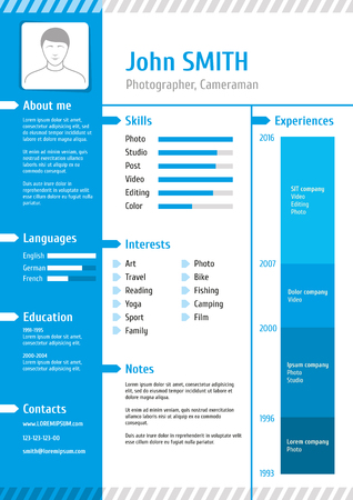 job descriptions: Business curriculum vitae. Business resume template with experience for job illustration Illustration