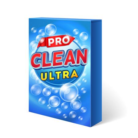 Sproszkowany projektowanie detergentu na opakowaniu kartonowe makiety. Proszek do prania chemicznego, mycie opakowania, torby, mycie sprzątanie ilustracji