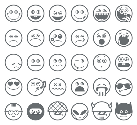 smiley: Smiley emoticon vector line icons. Smiley linear faces,  emotion smiley outline signs, smiley character set