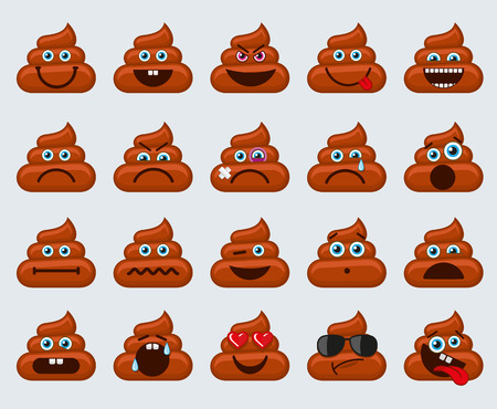 smileys: Poop emoticons smileys vector collection. Dirty emotions or poop emotions vector signs