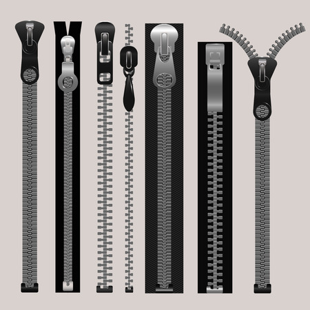 metal fastener: Vector zippers, fastener vector set. Fashion fastener, zippers for cloth, zipper metal, connection zippers illustration