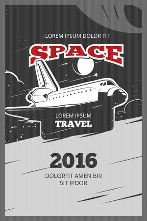 astronautics: Vintage astronautics vector poster. Astronautic banner space, astronautics  shuttle, astronautics rocket illustration